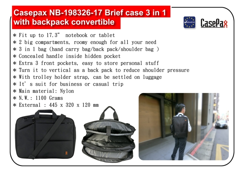 NB-198326-17 Brief case 3 in 1 with backpack convertible